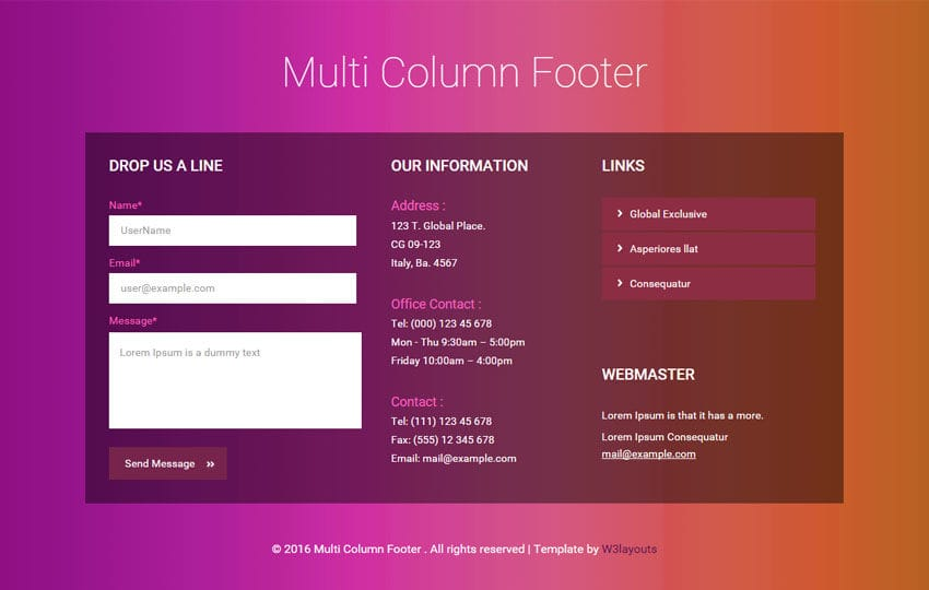 Multi Column Footer Widget Flat Responsive Template