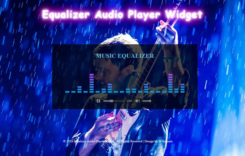 Equalizer Audio Player Widget
