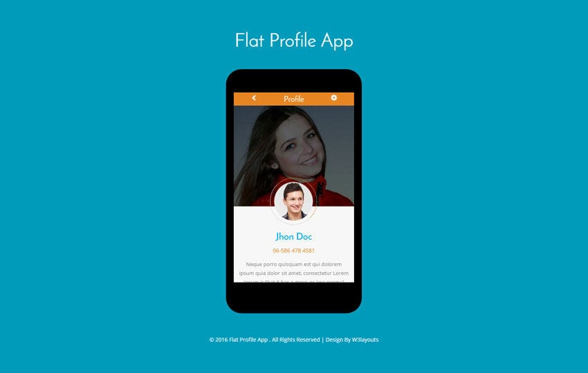 Flat Profile App A Mobile App Flat Bootstrap Responsive Web Template