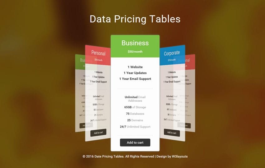 Data Pricing Tables Flat Responsive Widget Template