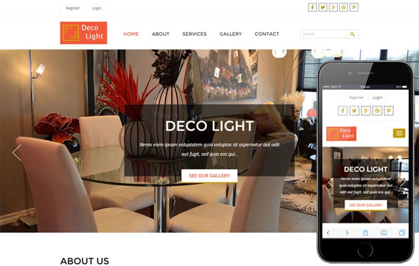Deco Light Interior Architects Category Flat Bootstrap Responsive Web Template