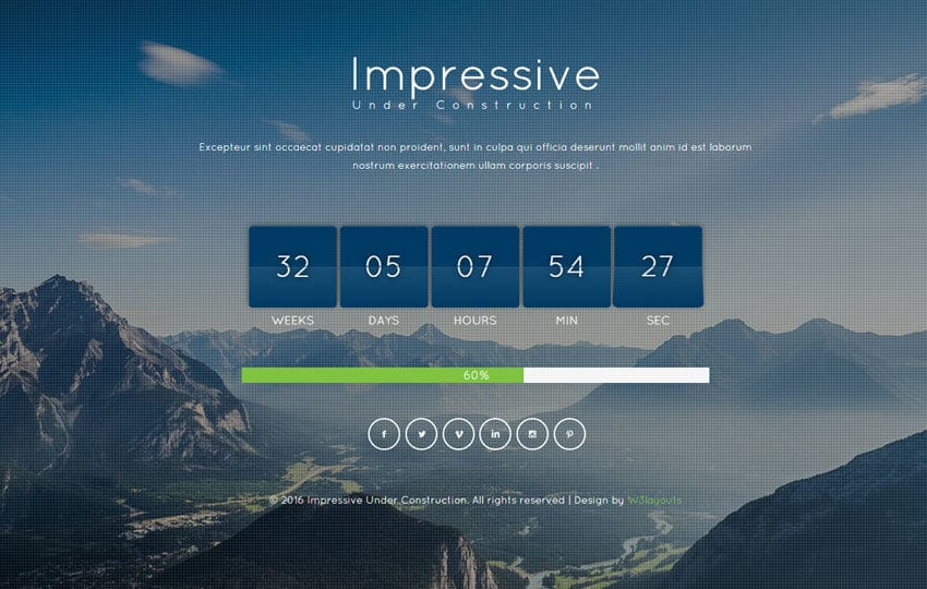 Impressive Under Construction Flat Responsive Widget Template