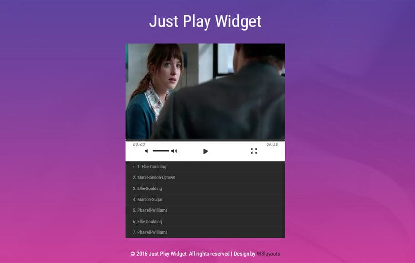 Just Play Widget Flat Responsive Widget