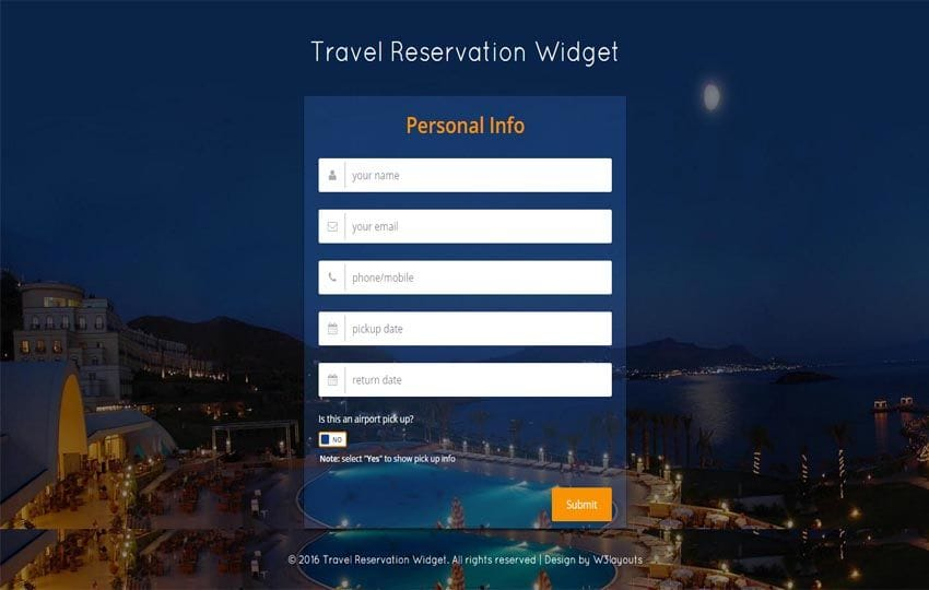 Travel Reservation Widget  Responsive Widget Template