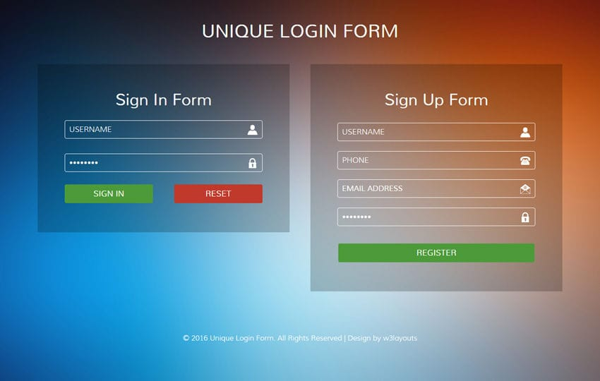 Unique Login Form Flat Responsive widget Template