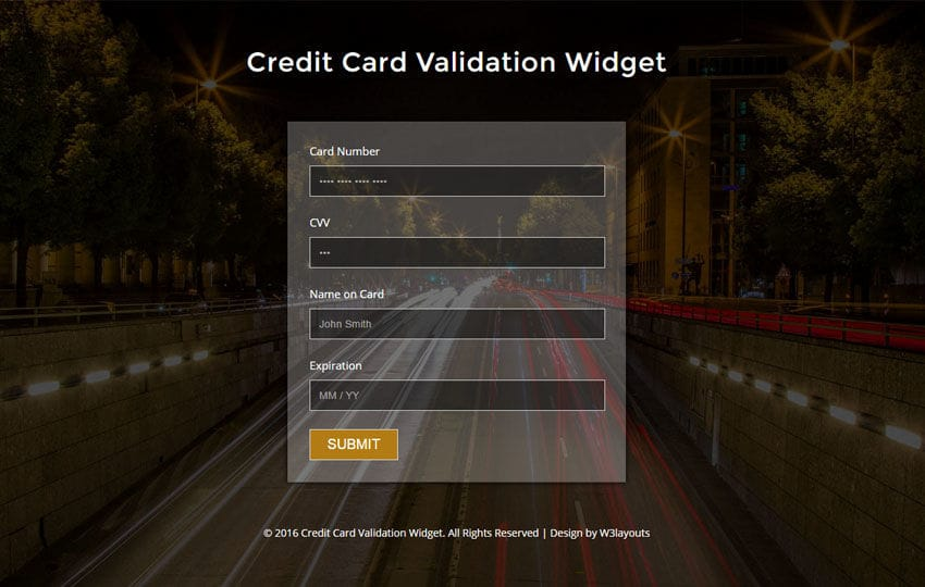 Credit Card Validation Widget Flat Responsive Widget Template