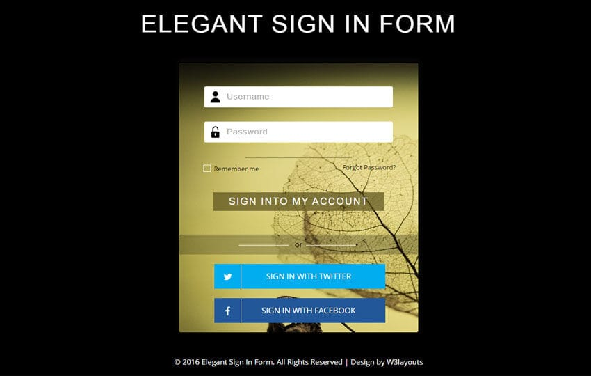 Elegant Sign In Form a Flat Responsive Widget Template