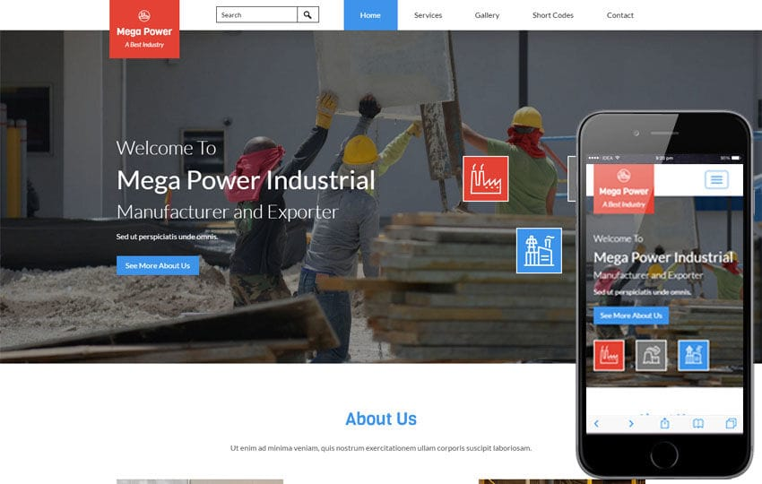 Mega Power a Industrial Category Flat Bootstrap Responsive Web Template