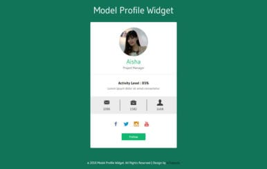 Model Profile Widget Flat Responsive Widget Template