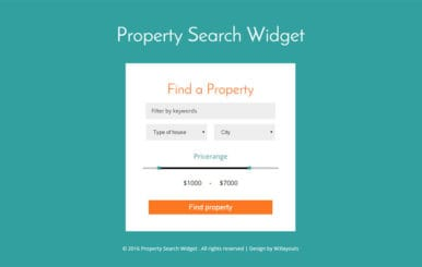 Property Search Widget Form Responsive Widget Template
