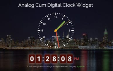 Analog Cum Digital Clock Widget Flat Responsive Widget Template