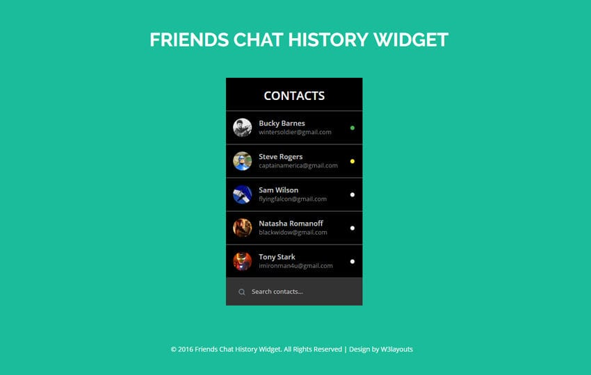 Friends Chat History Widget A Flat Responsive Widget Template