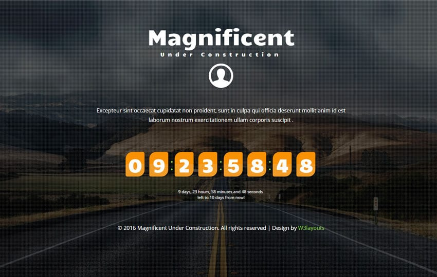 Magnificent Under Construction Flat Responsive Widget Template