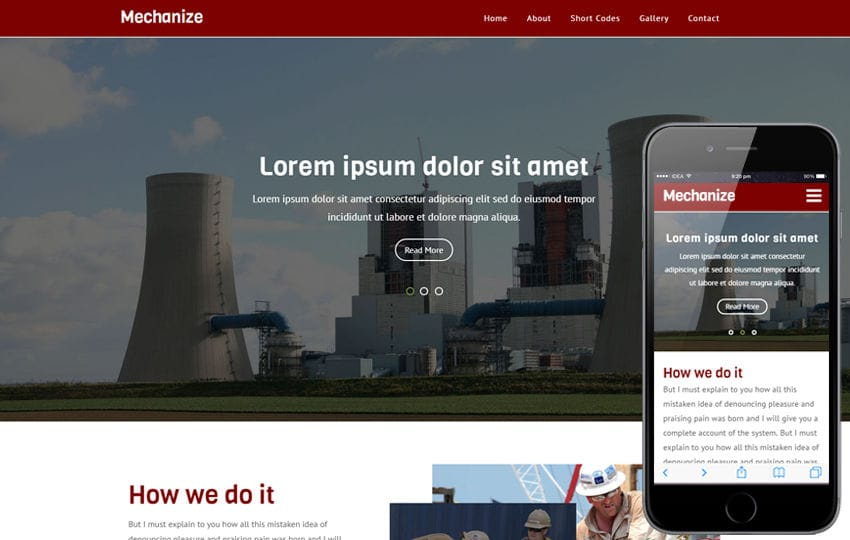 Mechanize an Industrial Flat Bootstrap Responsive  Web Template