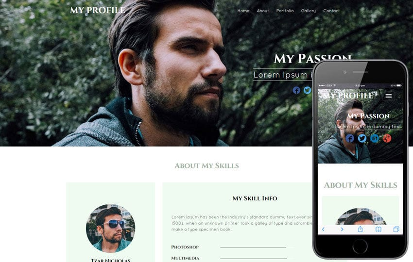 My Profile – Personal Portfolio category bootstrap Responsive  Web Template
