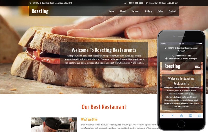 Roasting a Restaurant Category Flat Bootstrap Responsive web Template