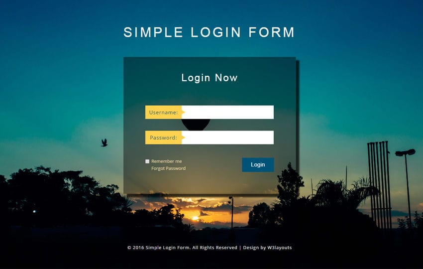 Simple Login Form a Flat Responsive Widget Template