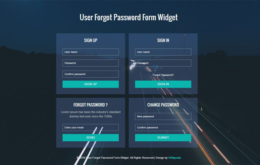 Sign Up Password Form Widget  Responsive Widget Template
