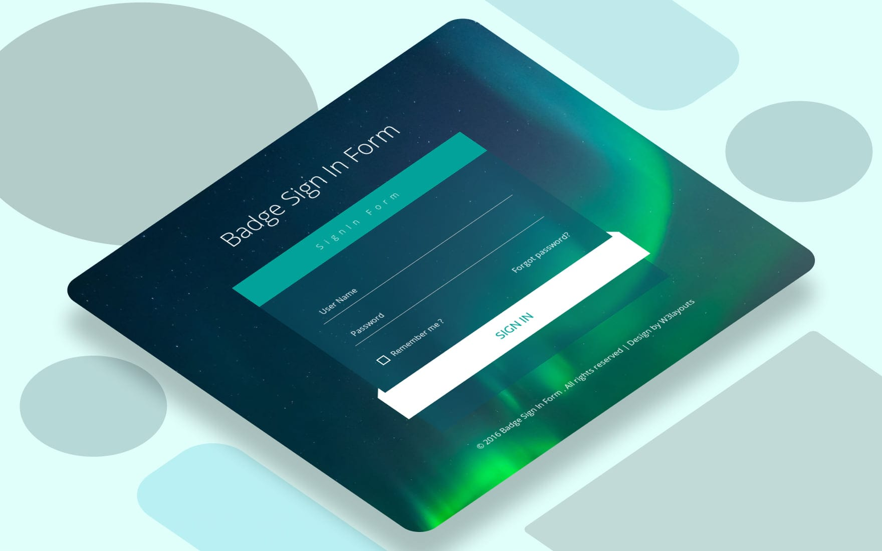 Badge Sign In Form Flat Responsive Widget Template