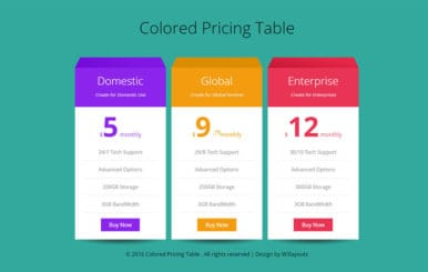 Colored Pricing Table Flat Responsive Widget Template