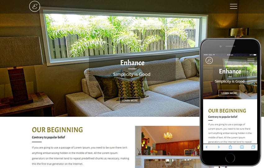 Enhance an Interior Category Flat Bootstrap Responsive Web Template