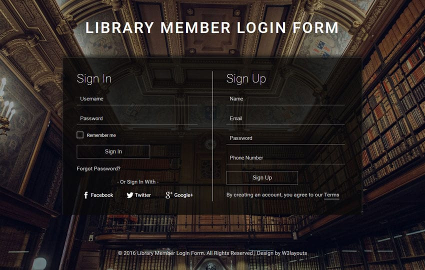 Library Member Login Form A Flat Responsive Widget Template