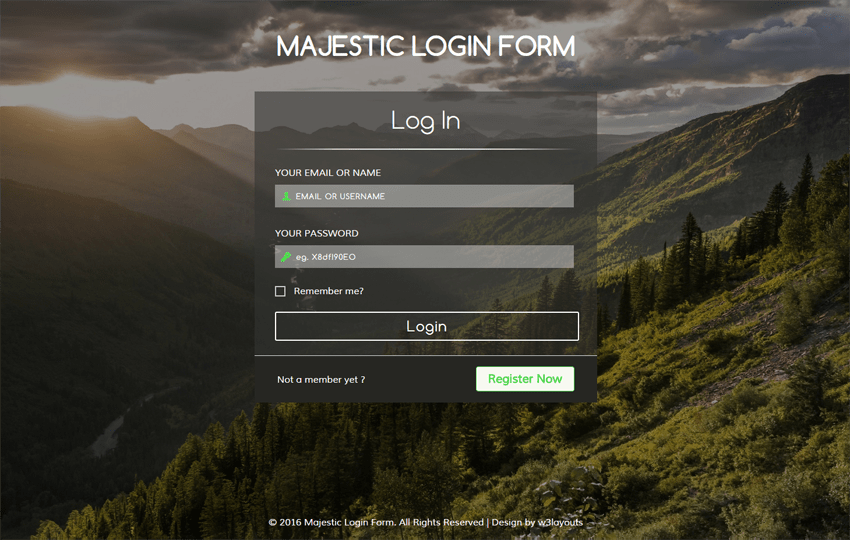 Majestic Login Form Flat Responsive widget Template