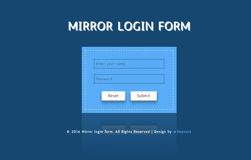 Mirror Login Form Responsive Widget Template