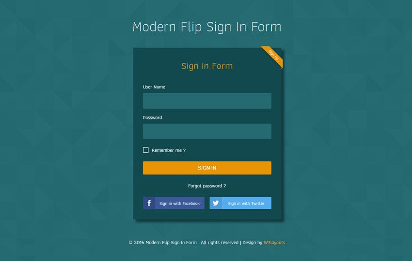 Modern Flip Sign In Form Flat Responsive Widget Template