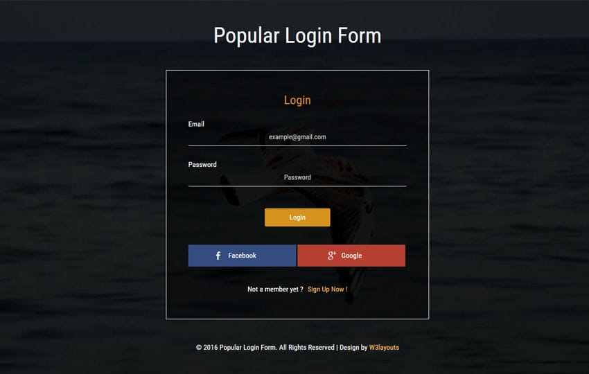 Popular Login Form Widget Flat Responsive Widget Template