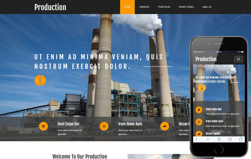 Production a Industrial Category Flat Bootstrap Responsive Web Template