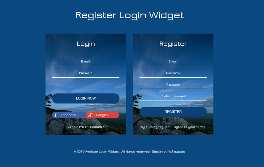 Register Login Widget Flat Responsive Widget Template