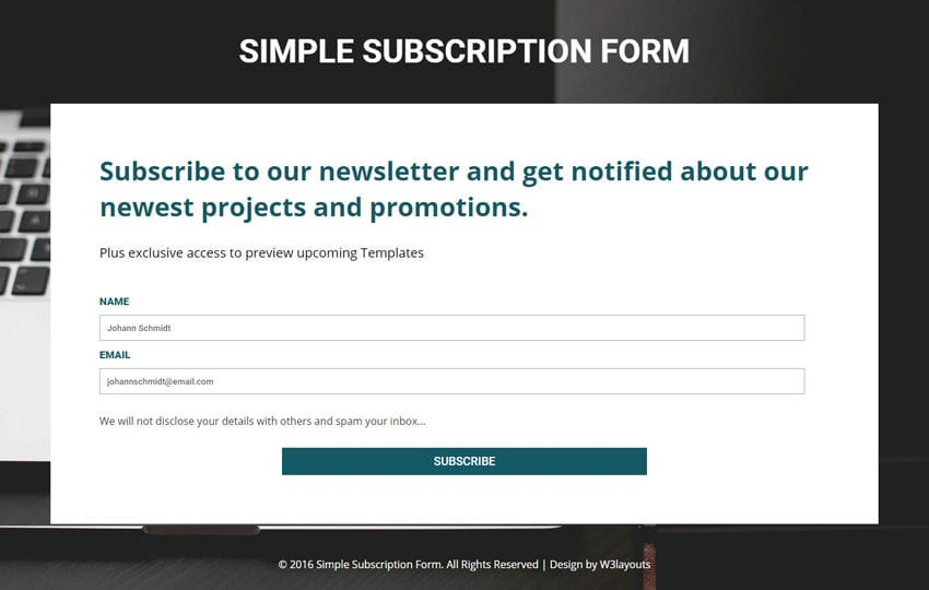 Simple Subscription Form A Flat Responsive Widget Template