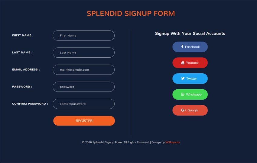 Splendid Signup Form Flat Responsive widget Template