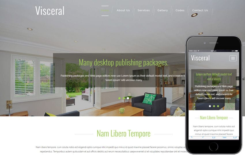 Visceral An Interior Category Flat Bootstrap Responsive Web Template