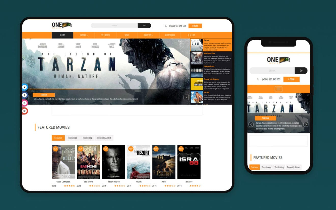 1 Movies Website – Bootstrap Movie Template