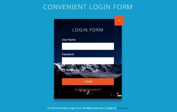 Convenient Login Form Flat Responsive Widget Template
