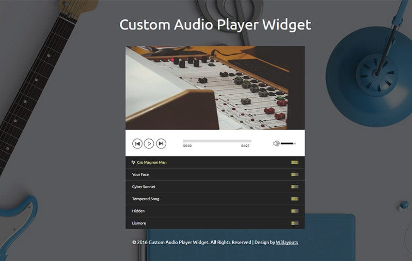 Custom Audio Player Widget Responsive Widget Template