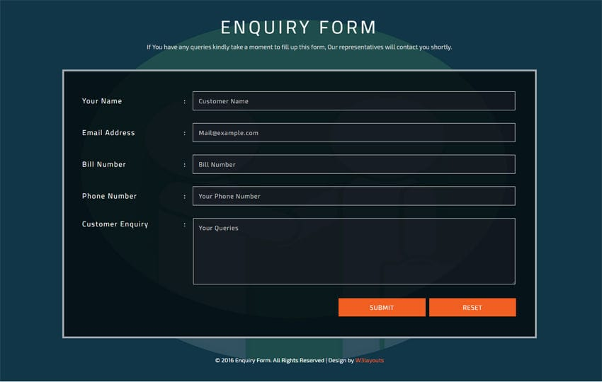 Enquiry Form Flat Responsive widget Template