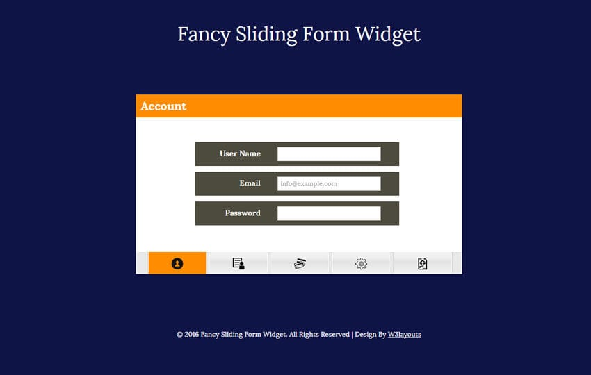 Fancy Sliding Form Widget Flat Responsive Widget Template