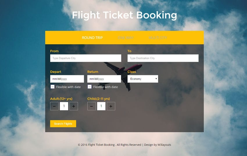 Flight Ticket Booking – Flat Responsive Widget Template