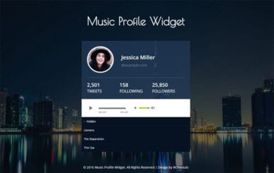 Music Profile Widget Responsive Widget Template