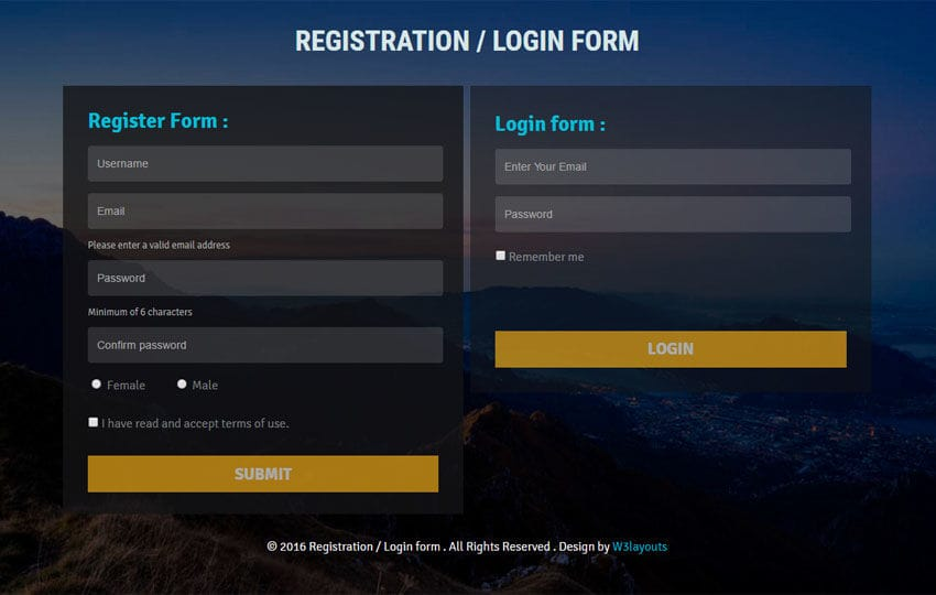 Registration or Login form Flat Responsive Widget Template