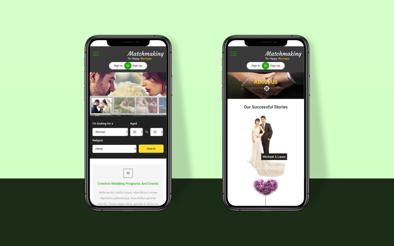 Matchmaking a Mobile App Bootstrap Responsive Web Template