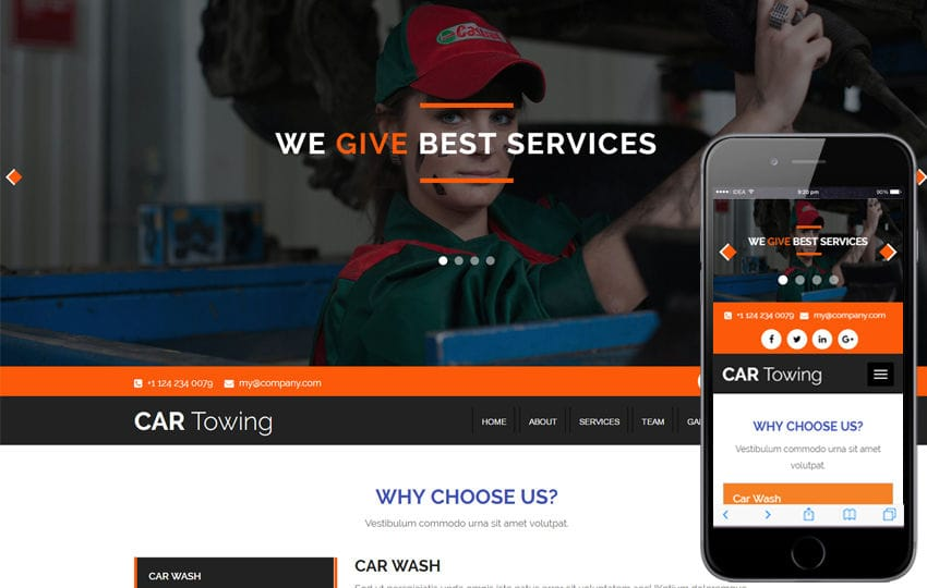 Car Towing an Auto Mobile Category Bootstrap Responsive  Web Template