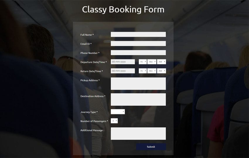 Classy Booking Form Responsive Widget Template