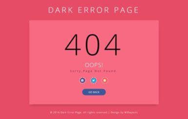 Dark Error Page Responsive Widget Template