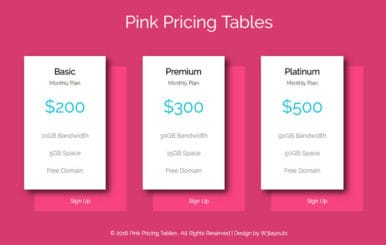 Pink Pricing Tables A Flat Responsive Widget Template