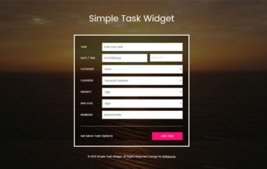 Simple Task Widget Responsive Widget Template