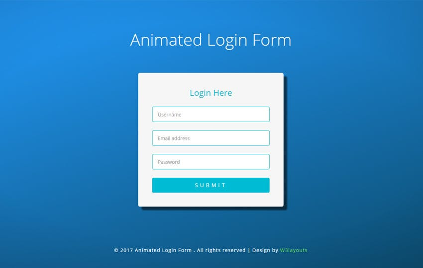 Animated Login Form Flat Responsive Widget Template